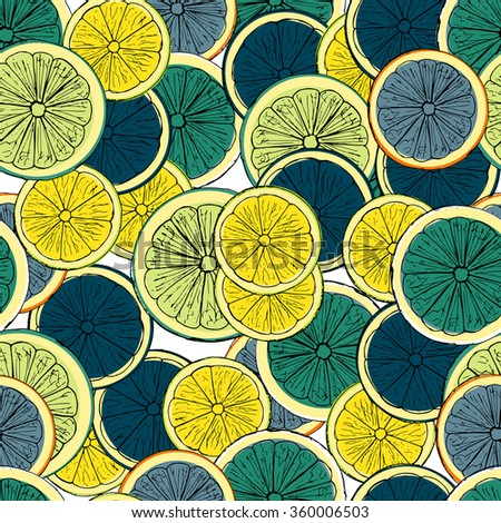 Hand drawn colored lemons pattern sketch. Vector illustration