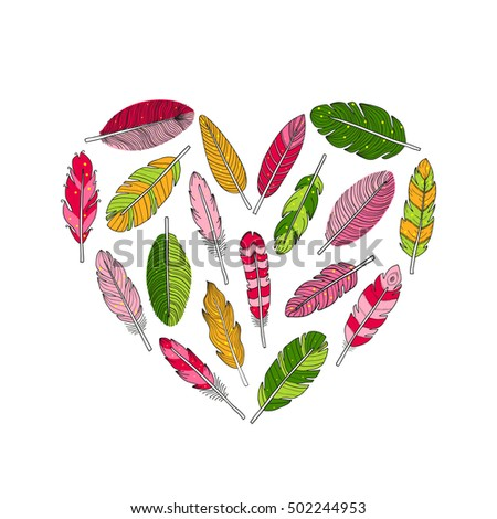 Hand drawn colorful indian boho feathers composed in heart shape on white background.