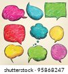 Hand-drawn, colorful speech bubbles - stock photo