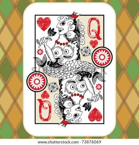 hand drawn deck of cards, doodle queen of hearts
