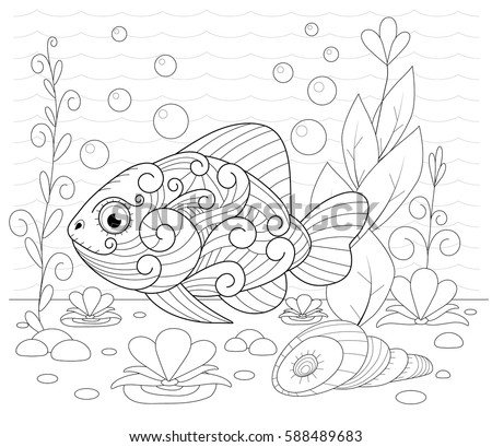 hand drawn decorative fish in the waves and with seaweed stress coloring page with high details