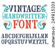 Hand drawn decorative vintage textured vector ABC letters.Nice font for your design.  - stock vector