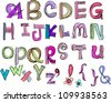 hand drawn doodle alphabet,vector illustration , a to z - stock photo