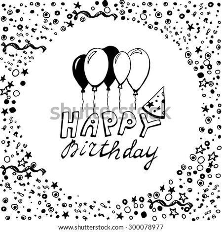 Hand Drawn Doodle Birthday Card Balloons Vector 228371596 – Doodle Birthday Card