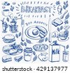 Hand drawn doodle breakfast set on squared paper. - stock vector
