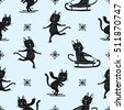 Hand drawn doodle cute black and white winter sport pleasure activities skating, skiing, sledge cat pattern