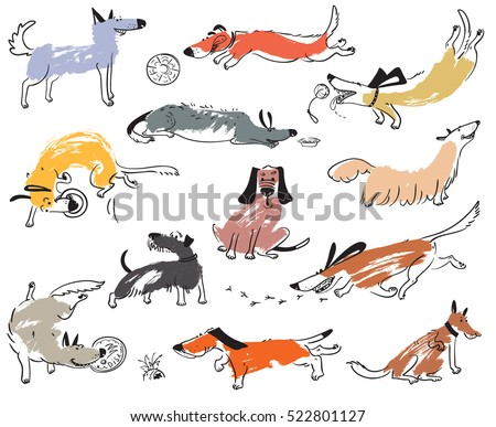 Hand drawn doodle cute dogs. Illustration set with playing pets with disk,  ball, sniffing, tracking. Artistic canine vector characters