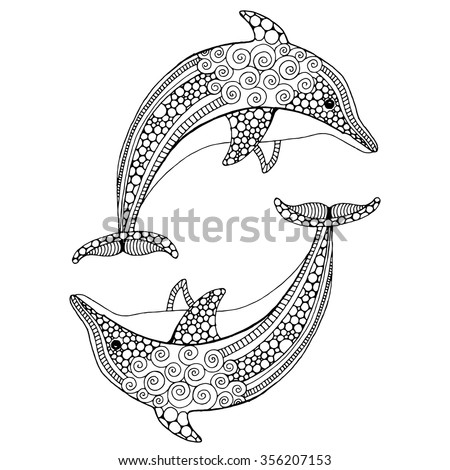 Hand drawn doodle dolphin pair