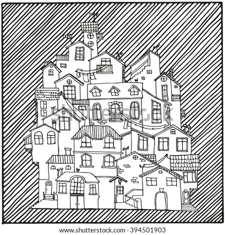 hand drawn doodle houses in black and white adult coloring page zentangle coloring book - Zentangle Coloring Book