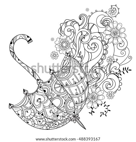 Hand Drawn Doodle Outline Umbrella Decorated 488393146