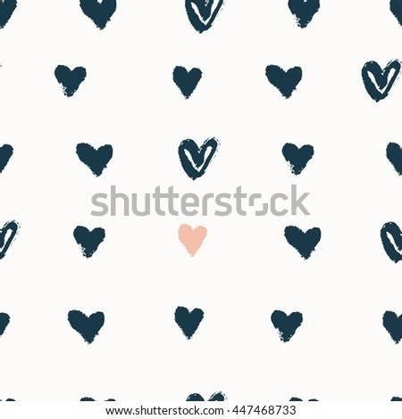 hand drawn fridge seamless vector hand drawn heart pattern stock vector 628127951
