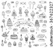 Hand drawn doodle Sweets set Vector illustration Sketchy Sweet food icons collection Isolated desert symbols on white background Cupcake Macaron Chocolate bar Candy Cake Pie Pastry Lollipop Pastry - stock vector