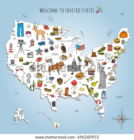 Fruit world map vegetables vector illustration stock vector hand drawn doodle usa set vector illustration sketchy american icons united states of america elements flag sciox Image collections
