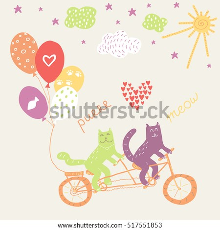 Hand drawn doodle vector illustration for wedding. Cats riding a tandem bicycle with balloons. Invitation design