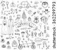 Hand drawn doodle Wedding collection Vector illustration Sketchy Marriage icons Big set of icons for Wedding day, love and romantic events Bride Groom Heart Cupid Engagement ring Tricycle Invitation - stock vector