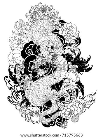 hand drawn dragon tattoo coloring book japanese stylejapanese old dragon for tattoo - Tattoo Coloring Books