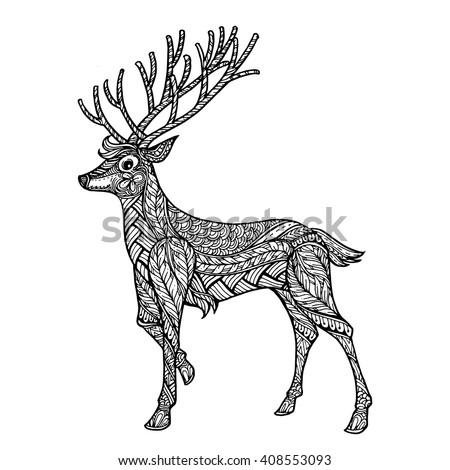 Deer hand drawn christmas magic horned stock vector Tribal animals coloring book