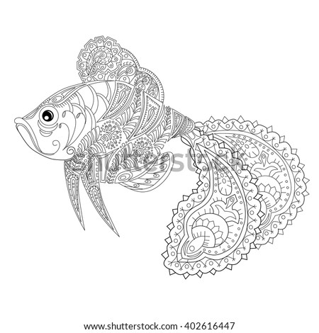Hand Drawn Fish Stress Coloring Page With High Details Isolated On Background Illustration In