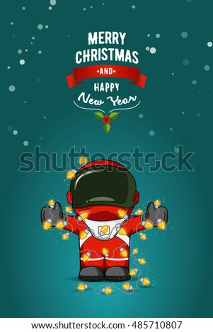 Hand drawn flat vector illustration. Cartoon astronaut in spacesuit with garland of Christmas lights. Greeting card