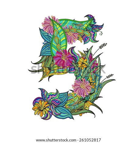 hand-drawn floral font, number 5