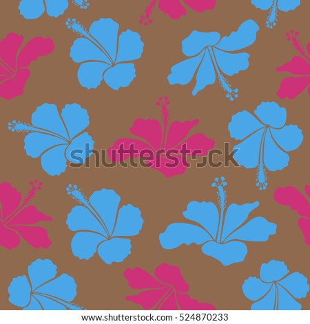 Hand drawn floral texture, brown, blue and pink decorative flowers. Vector illustration. Vector seamless colorful floral pattern.