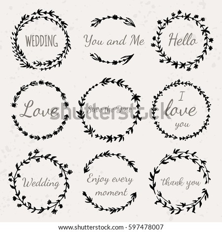 hand drawn floral wreath with lettering wedding love save the date thank you