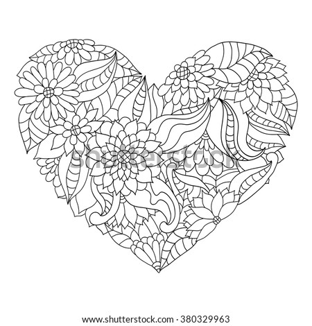 Hand Drawn Flower Heart For Adult Anti Stress Colouring Book Coloring Page With High Details