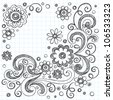 Hand-Drawn FLowers Back to School Sketchy Notebook Doodles- Vector Illustration Design Elements on Lined Sketchbook Paper Background - stock vector