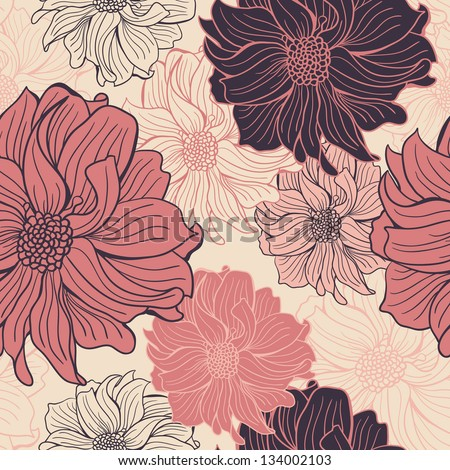 Hand-drawn flowers of dahlia. Seamless vector background.