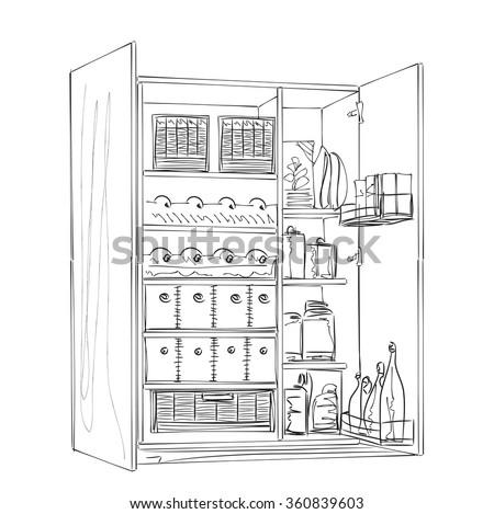 furniture sketch hand drawn wardrobe sketch room interior stock vector 354220946