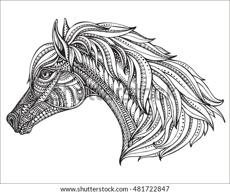 Drawing Unicorn Zentangle Style Coloring Book Stock Vector