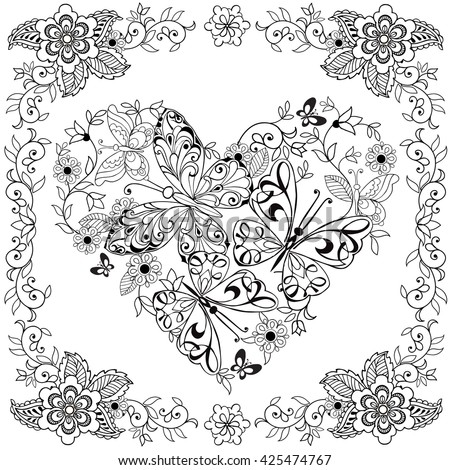 Hand Drawn Heart Of Butterflies For The Anti Stress Coloring Page With