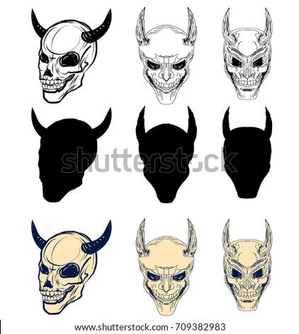 black white skulls stock vector 446261980 shutterstock. Black Bedroom Furniture Sets. Home Design Ideas