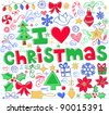 Hand-Drawn I Love Christmas Sketchy Notebook Doodles- Vector Illustration Design Elements on Lined Sketchbook Paper Background - stock vector