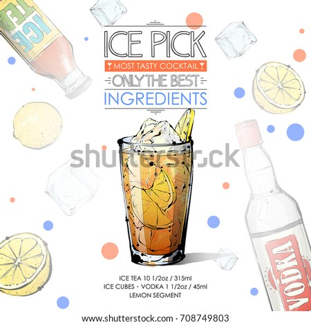 Hand drawn illustration cocktail tom collins stock vector for Cocktail recipes with ingredients on hand