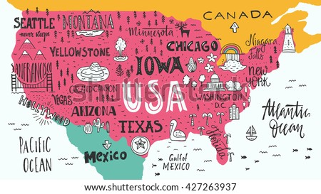 Hand Drawn Illustration Usa Map Hand Stock Vector - Us map with tourist attractions