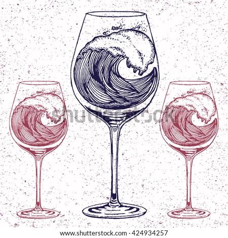 hand drawn illustration wave wine glass stock vector 424934245 shutterstock. Black Bedroom Furniture Sets. Home Design Ideas