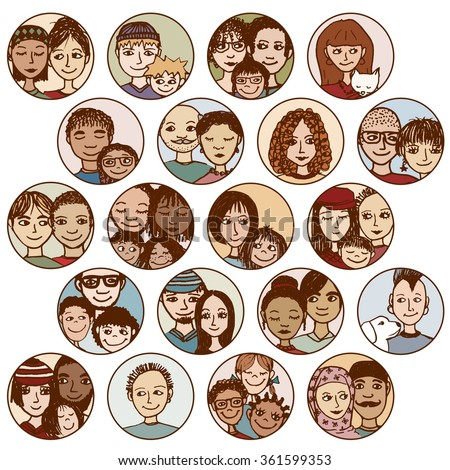 Hand drawn images of families, couples, friends, siblings, singles... multicultural, multiethnic, mixed & patchwork - #2