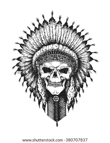 Hand drawn Indian chief skull wearing traditional feathered war bonnet. Vector illustration