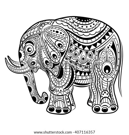 hand drawn ink zentangle elephant for relax and meditation vector pattern black and white illustration