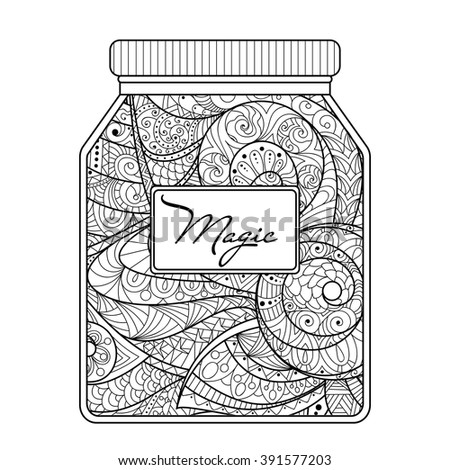 Hand Drawn Jar With Magic Inside Drawing For Coloring Book Adults Zentangle Style