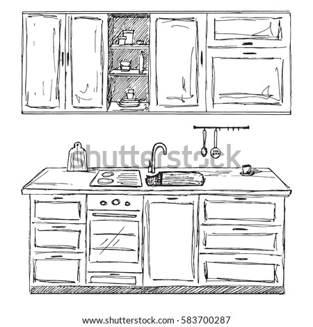 Kitchen interior thin line style set stock vector for Kitchen set drawing