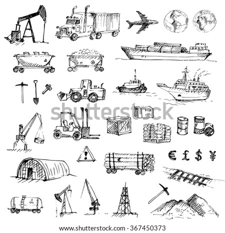 Hand drawn logistics, resource mining, industry and delivery sketch set. Vector illustration.