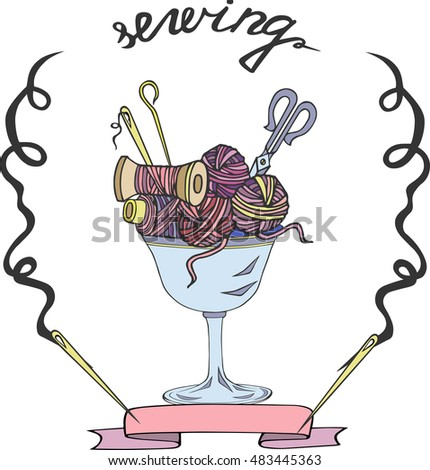 Hand drawn logo with with threads, needles and scissors. It can be used for sewing and knitting. Vector.