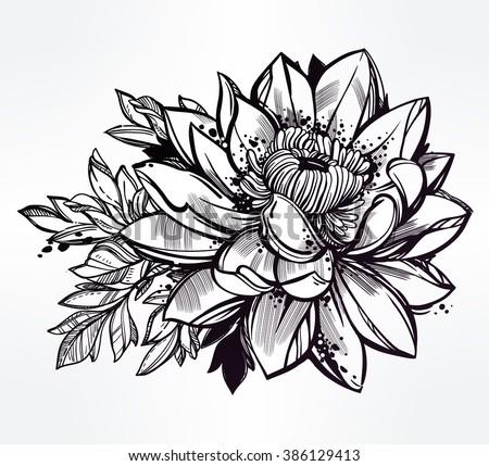 lotus floral design element engraved retro stock vector 71475280 shutterstock. Black Bedroom Furniture Sets. Home Design Ideas
