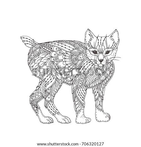 Hand Drawn Lynx With Ethnic Floral Doodle Pattern Coloring Page