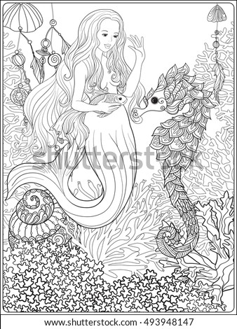 Hand Drawn Mermaid With Gold Fish In Underwater World Linen Color Vector Illustration Anti