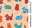 Hand drawn merry little multicolored kitten vector seamless pattern. Made in clear and cheerful tones - stock vector