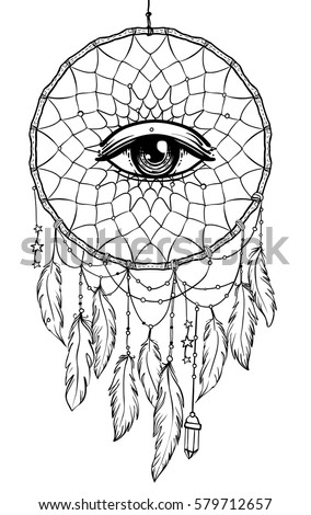 Hand Drawn Native American Indian Talisman Dreamcatcher With Eye Feathers And Moon Vector Hipster