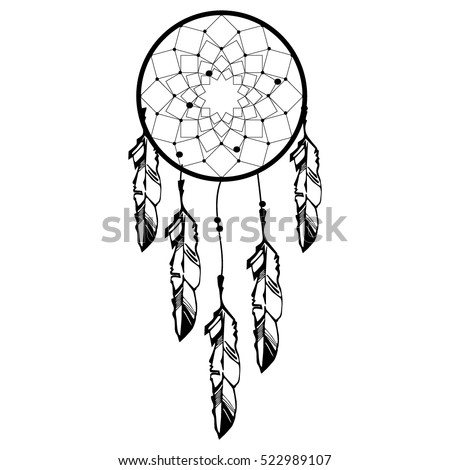 hand drawn native american indian talisman dreamcatcher with feathers and moon vector hipster illustration isolated - Native American Coloring Book